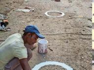 शहर की सब्जी मंडियों में साेशल डिस्टेंसिंग के लिए गाेल घेरे बनवा रहा है नगर निगम मुजफ्फरपुर,Muzaffarpur - Dainik Bhaskar