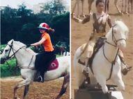 एक्ट्रेस ने शेयर किया हॉर्स राइडिंग का वीडियो, सोशल मीडिया यूजर्स ने दिलाई 'मणिकर्णिका' के नकली घोड़े की सवारी की याद|बॉलीवुड,Bollywood - Dainik Bhaskar