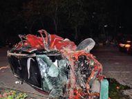 MP के इंदौर में 160 की स्पीड में दौड़ रही कार चार पलटी खाते हुए सामने की साइड में घुसी, दो युवक-दो युवती घायल|इंदौर,Indore - Money Bhaskar