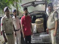 संदिग्ध कार के साथ एक युवक को पुलिस ने पकड़ा, तलाशी में मिले 236 पाव देशी व 80 पाव अग्रेजी के, चुरहट से आई थी शहर में बिकने रीवा,Rewa - Money Bhaskar