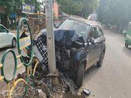 तेज रफ्तार कार अचानक हुई बेकाबू, सड़क पर लहराते हुए बिजली के पोल से जा टकराई, चालक घायल, उस समय सड़क से निकल रहे थे कई लोग, बची जान|ग्वालियर,Gwalior - Money Bhaskar