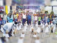 सफाई नहीं हाेने के विराेध में छठे दिन भी जारी रहा धरना, 55 पार्षदाें के पुतले फूंके|दौसा,Dausa - Money Bhaskar