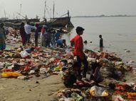 पटना में कलश-पूजा सामग्री गंगा में प्रवाहित, मजिस्ट्रेट के साथ पूरी फौज नहीं बचा पाई नियम पटना,Patna - Money Bhaskar