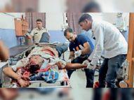 बस की टक्कर से पिकअप चालक घायल|सरदारशहर,Sardarshar - Money Bhaskar