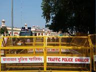 स्टेशन से लेकर रेलवे ट्रैक पर GRP, RPF ने बढ़ाई गश्त, बैरिकेड्स लगाए; फूलबाग पर किसान जुटे, नारेबाजी की|ग्वालियर,Gwalior - Money Bhaskar