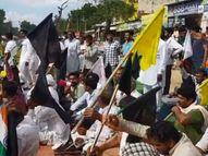 गांव कागदाना में चुनावी सभा के दौरान किसानों ने दिखाए काले झंडे, अर्धसैनिक बलों की दो टुकड़िया तैनात|हरियाणा,Haryana - Money Bhaskar