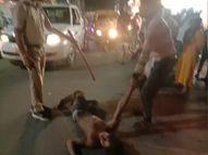 सड़क पर नशेड़ियों का हंगामा, हाथ में ब्लेड लेकर लोगों के पीछे दौड़े, पुलिस वाहन के कांच फोड़ दिए और भाग गए ग्वालियर,Gwalior - Money Bhaskar
