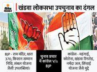 राम मंदिर, धारा 370 हटाने जैसी उपलब्धियां गिना रही BJP; कांग्रेस ने महंगाई, जोड़-तोड़ की राजनीति और नर्मदा जल को बनाया मुद्दा|खंडवा,Khandwa - Money Bhaskar