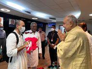 मुख्यमंत्री भूपेश बघेल हवाई अड्डे लेने पहुंचे; प्रस्तावित सेवाग्राम देखा, 75 एकड़ में बसेगा रायपुर,Raipur - Money Bhaskar
