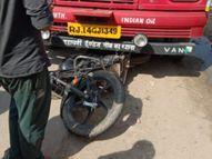 पानी कैंपर सप्लाई के लिए लेकर जा रहा था, सिलेंडर से भरे ट्रक ने पीछे से मारी टक्कर|चौमू,Chomu - Money Bhaskar
