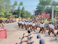 तीन बस्तियों से निकला पथ संचलन, पुष्पवर्षा कर किया स्वागत|सेंधवा,Sendhwa - Money Bhaskar