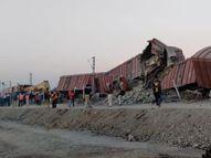 दौंड-मनमाड सेक्शनमध्ये मालगाडीचे 12 डबे रुळावरुन घसरले, वाहतूक विस्कळीत|अहमदनगर,Ahmednagar - Divya Marathi