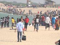શિવરાજપુર બીચમાં કોરોનાનો ડર રાખ્યા વિગર યાત્રિકો ઉમટી પડ્યા|દ્વારકા,Dwarka - Gujarati News
