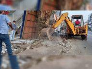 તિથલ રોડ પહોળો કરવા સ્ટોર્મ વોટર ગટર પર બુલડોઝર|વલસાડ,Valsad - Gujarati News