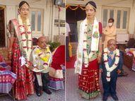 મેંદરડાની સાડા પાંચ ફૂટની પ્રજ્ઞાચક્ષુ યુવતીના લગ્ન જામજોધપુરના 3 ફૂટના શિક્ષક યુવક સાથે થયા|જામનગર,Jamnagar - Gujarati News