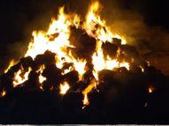 ડભોઇના કુકડ વસાહત ખાતે ઘાસની ગંજીમાં આગ લાગતાં 450 ગાંસડી બળીને ખાખ|ડભોઈ,Dabhoi - Gujarati News