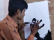 બળેલાં ઓઈલમાંથી આંગળીના ટેરવે ચિત્ર કંડારતો યુવક|દ્વારકા,Dwarka - Gujarati News