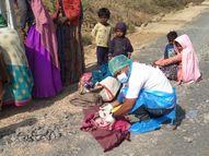 108ની ટીમે ખાટલા પર ઊંચકી ગાડી સુધી લાવી પ્રસુતિ કરાવી, મોરબીના હરીપર કેરાલા ગામ પાસેનો બનાવ|મોરબી,Morbi - Divya Bhaskar
