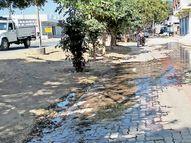દામનગરમાં ઘનશ્યામનગર રોડ પર પાણીની પાઇપલાઇન લીક અમરેલી,Amreli - Divya Bhaskar