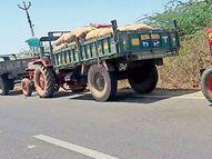 મેઘરજ વાસણા ગોડાઉનમાં ચણા અને ઘઉંની ધીમી ખરીદીથી વાહનોની લાંબી કતારો લાગી|મેઘરજ,Meghraj - Divya Bhaskar