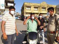 ઘોઘંબા તાલુકામાં દંડ નહી વસૂલી પોલીસ દ્વારા માસ્કનું વિતરણ કરાયું ઘોઘંબા,Ghoghamba - Divya Bhaskar