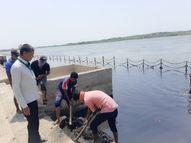 સોમનાથમાં ત્રિવેણી સંગમ નદીમાંથી કાપ-કાદવ કાઢવાની કામગીરીનો પ્રારંભ કરાયો|વેરાવળ,Veraval - Divya Bhaskar