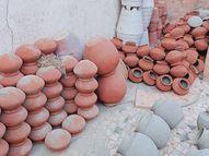 પાણીઢોળ માટેની માટલી અગાઉ વર્ષે 500 વેચાતી હતી, કોરોનાકાળમાં મહિને 800થી વધુની માંગ રાજકોટ,Rajkot - Divya Bhaskar