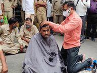 સૌરાષ્ટ્રમાં કોરોનામાં STના 18 કર્મીના મૃત્યુ, સરકારે વોરિયર્સ જાહેર ન કરતા રાજકોટમાં કર્મચારીએ મુંડન કરાવી વિરોધ|રાજકોટ,Rajkot - Divya Bhaskar
