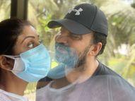 ડબલ માસ્ક પહેરીને શિલ્પાએ કાચની પેલે પાર રહેલા કોરોના પોઝિટિવ પતિ રાજ કુંદ્રાને પ્રેમ કર્યો|બોલિવૂડ,Bollywood - Divya Bhaskar