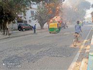 सड़कों के पेचवर्क का काम सेक्टर-18/7 डिवाइडिंग रोड से हुआ शुरू|पंचकूला,Panchkula - Dainik Bhaskar