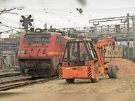 रनिंग रेललाइन के बगल में बिना सुरक्षा घेरा लगाए मजदूर कर रहे एक्सटेंशन वर्क, हादसे की आशंका|मुजफ्फरपुर,Muzaffarpur - Dainik Bhaskar
