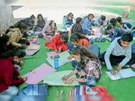 170 बच्चों ने पेंटिंग से बताए सुरक्षा के तरीके रायसेन,Raisen - Dainik Bhaskar