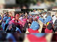आशा सहयोगिनियों ने एसडीएम का घेराव कर मुख्यमंत्री का पुतला फूंका|करौली,Karauli - Dainik Bhaskar