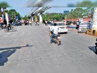 चौराहों पर स्टाॅप और जेब्रा लाइनें तोड़ने पर जुर्माना, जबकि पूरे शहर में यही मिट गईं|रायपुर,Raipur - Dainik Bhaskar