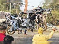 शास्त्री कॉलोनी रेड लाइट पर खड़ी कार काे ट्रक ने टक्कर मारी, डीएमसी समेत 5 घायल|अम्बाला,Ambala - Dainik Bhaskar