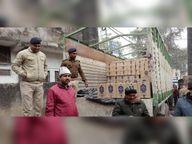 ट्रक पर नारियल के नीचे छिपाकर लाई जा रही 400 कार्टन विदेशी शराब जब्त, चार गिरफ्तार|पटना,Patna - Dainik Bhaskar