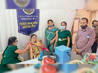 लायंस क्लब ऑफ खंडवा ग्रेटर एवं धाकड़ माहेश्वरी समाज ने लगाया शिविर खंडवा,Khandwa - Dainik Bhaskar