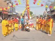 हिंदू नववर्ष पर भारत माता चौक को सजाया रंगोली बनाकर कोरोना से बचाव के दिए संदेश|श्रीगंंगानगर,Sriganganagar - Dainik Bhaskar