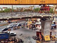 एक सेगमेंट में दरार देख डर से नीचे कूदा श्रमिक घायल; स्ट्रेसिंग के दौरान दिखी दरार, नीचे से जाने वाला यातायात बंद|जयपुर,Jaipur - Dainik Bhaskar