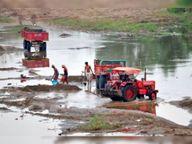 हाफ व आगर नदी में अवैध रेत खनन कर खपा रहे ईंट भट्टों में|पंडरिया,Pandriya - Dainik Bhaskar