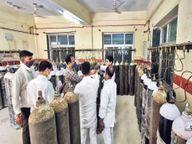 अस्पतालों में भेजे जा रहे आधे खाली ऑक्सीजन सिलेंडर; 7 जिले, 20 अस्पताल, स्टाफ के सामने 103 सिलेंडरों में ऑक्सीजन मापी, 98 में कम मिली|जयपुर,Jaipur - Dainik Bhaskar