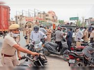 खींवसर के सदर बाजार में कोरोना नियमों की अवहेलना करने पर की गई कार्रवाई|नागौर,Nagaur - Dainik Bhaskar