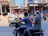 देहाती दूल्हे की पोशाक में बाइक पर तहसीलदार; 18 दुकानों पर पहुंचे, वागड़ी में बाेले, मूं वाेर हूं, सामान लेवाे है... सभी ने दुकानें खाेलकर अंदर बुला लिया|सीमलवाड़ा,Simalwara - Dainik Bhaskar