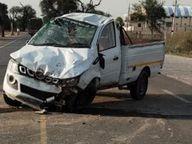 कार-जीप में आमने-सामने की भिड़ंत, 3 की मौत, 3 घायल, गांव गणेशगढ़ के बस स्टैंड के पास हुआ हादसा|श्रीगंंगानगर,Sriganganagar - Dainik Bhaskar