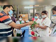 कलेक्टर व नपाध्यक्ष ने नर्सेज को फूल देकर कहा- थैंक्स|कवर्धा,Kawardha - Money Bhaskar