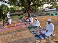 घरों में समाजजन ने पढ़ी नमाज, ईदगाह-मस्जिद रहे सूने, देश की तरक्की और खुशहाली की मांगी दुआ|होशंगाबाद,Hoshangabad - Dainik Bhaskar