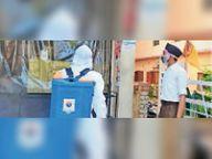 शहर के 38 एटीएम काे राेज सैनिटाइज कर रहे स्वयंसेवक|बैतूल,Betul - Dainik Bhaskar