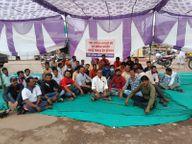 पिटाई करने वाले पुलिसकर्मी के खिलाफ जारी है हड़ताल, एसपी, कलेक्टर से आज मिलेगा कर्मचारी संगठन|होशंगाबाद,Hoshangabad - Money Bhaskar