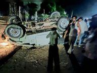 अचानक आगे गाय आ जाने से कार पलटी, चालक घायल|टोंक,Tonk - Money Bhaskar
