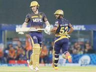 KKR चा कर्णधार मॉर्गनने डाव सांभाळला, माजी कर्णधार दिनेश कार्तिकने चौकार मारून विजय मिळवून दिला|स्पोर्ट्स,Sports - Divya Marathi